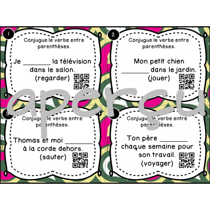 Verbes 1er groupe cartes t ches codes qr for Portent verbe